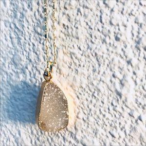 Grey Druzy Stone Pendant w/ Gold Necklace Chain